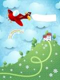 Fantasielandschap met heuvel, vliegtuig en banner Royalty-vrije Stock Afbeelding