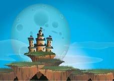 Fantasielandschap met kasteel op een drijvend eiland Royalty-vrije Stock Afbeeldingen