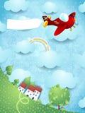 Fantasielandschap met rood vliegtuig en lege banner Stock Fotografie