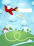 Fantasielandschap met vliegtuig, banner en rivier Stock Afbeeldingen