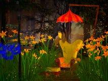 Fantasieleunstoel in het dromerige bos Stock Foto's