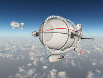 Fantasieluchtschepen boven de wolken stock illustratie