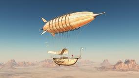 Fantasieluftschiff über einer Wüste stock abbildung