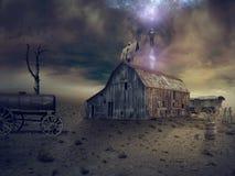 Fantasiemanipulatie - een mystiek ritueel op het dak van oude B stock fotografie