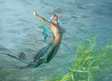 Fantasiemeerjungfrau mit Meerespflanze lizenzfreie stockfotos
