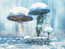 Fantasiepaddestoelen met sneeuw royalty-vrije illustratie