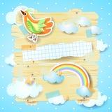 Fantasiepaneel met vogel en exemplaarruimte Stock Foto