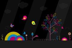 Fantasiepark auf schwarzem Hintergrund stock abbildung
