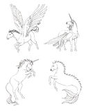 Fantasiepferdesammlung eingestellt in Schwarzweiss-Zeichnung Stockbilder