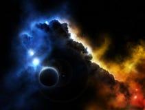 Fantasieplatznebelfleck mit Planeten Stockfotografie