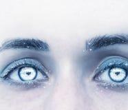 Fantasieporträt einer Frau in den kalten Schatten mit den gefrorenen Wimpern stockfoto
