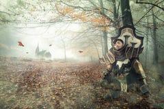 Fantasieritter, der in einem dunklen Wald stillsteht lizenzfreie stockfotografie
