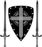Fantasieschild en zwaarden van Europese strijders Stock Afbeelding