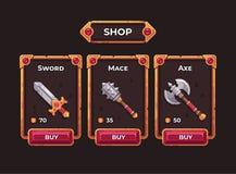 Fantasiespielwaffen-Shopkonzept Rahmenillustration des Spielshops UI Stockfotografie