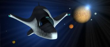 Fantasieszene: Weißes Raumschiff mit der Turbine beleuchtet über der Galaxie mit Planeten von verschiedenen Farben um sie lizenzfreies stockfoto