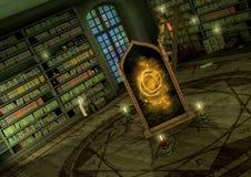 Fantasietempel mit einem magischen Spiegel, den Schädeln und den Kerzen Stockfotos