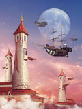Fantasietorens en vliegende schepen Stock Afbeelding