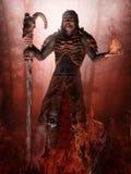 Fantasietovenaar en vlammen Royalty-vrije Stock Afbeeldingen