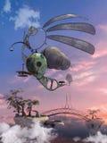 Fantasievliegtuigen over een brug Stock Afbeelding