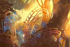 Fantasiewald mit abstrakten Bäumen Stockbild