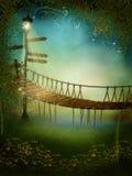 Fantasiewiese mit einer Brücke Stockbild