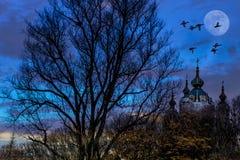 Fantasiezusammensetzung von den Vögeln, die durch den Mond über einer Kirche fliegen lizenzfreie stockbilder