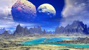 Fantasifrämlingplanet Rocks och lake illustration 3d stock illustrationer