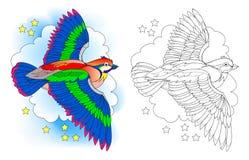 Fantasiillustration av älvornas rikeflygfågeln Färgrik och svartvit modell för att färga Arbetssedel för barn och vuxen människa vektor illustrationer