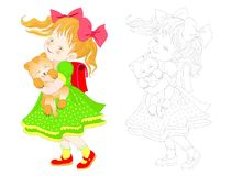 Fantasiillustration av den gulliga lilla flickan som går till skolan med kattungen Färgrik och svartvit sida för färgläggningbok fotografering för bildbyråer