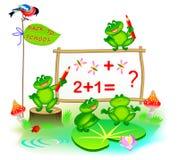 Fantasiillustration av gulliga små grodor som lär att räkna nummer tillbaka skola till Räkning för barnskolalärobok royaltyfria bilder