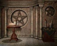 Fantasikapell med urns royaltyfri illustrationer