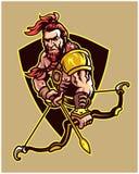 Fantasikrigare som bär Archer Cartoon Mascot Logo Badge stock illustrationer