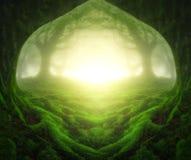 Fantasilandskap med den drömlika skogen fotografering för bildbyråer