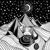 Fantasilandskap med pyramider, dyn och månen stock illustrationer