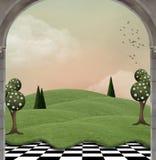 Fantasilandslandskap med overkliga träd vektor illustrationer