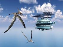Fantasiluftskepp och Pterosauren Pteranodon Arkivbild