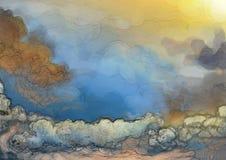 Fantasimolnbakgrund Vektor Illustrationer