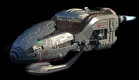 Den Futuristic spaceshipen 3D i djupt utrymme reser Royaltyfri Foto