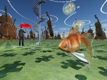 Fantasin landskap med violoncellen vektor illustrationer