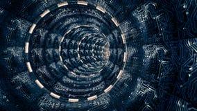 Fantasiplats av den konstgjorda utrymmetunnelen Sciencetema, vektor illustrationer