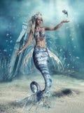 Fantasisjöjungfru och en fisk royaltyfri illustrationer
