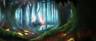 Fantasiskogillustration royaltyfri illustrationer