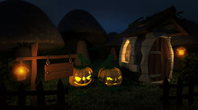 Fantasiskogsmarkstuga på halloween royaltyfri illustrationer