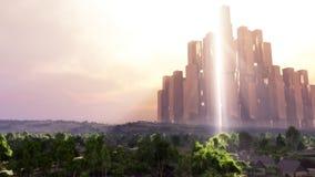 Fantasitempel i solnedgånglandskap Arkivbild