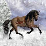 Fantasivinterhäst i snowen, hälsningskort/bakgrund Arkivbild