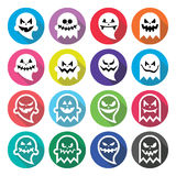 Fantasma asustadizo de Halloween, iconos planos del diseño del alcohol fijados Foto de archivo