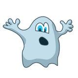 Fantasma azul simples dos desenhos animados com mãos acima Imagens de Stock Royalty Free