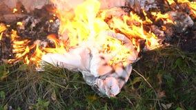 Fantasma bianco bruciante su terra stock footage