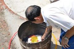 Fantasma bruciante dei soldi per il fantasma cinese Fotografie Stock Libere da Diritti