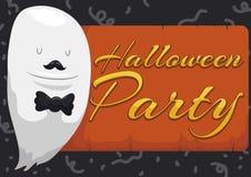Fantasma como un caballero listo para el partido de Halloween, ejemplo del vector ilustración del vector